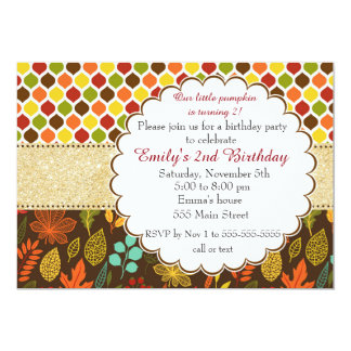 Fall-Herbst-Glitter-Kindergeburtstag-Einladung Karte