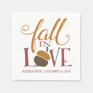 Fall in Herbst-Eichel-Hochzeits-Verlobung der Papierserviette