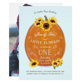 Fall-Kürbis und Sonnenblume-erster Geburtstag 12,7 X 17,8 Cm Einladungskarte
