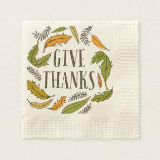 Fall-Laub geben Dank-Erntedank-Serviette Serviette