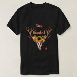 Fall-Rotwild-Kopf-Schädel geben Dank-Typografie T-Shirt
