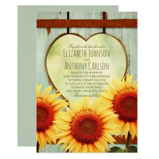 Fall-Sonnenblume, die rustikalen Land-Zaun Wedding Karte