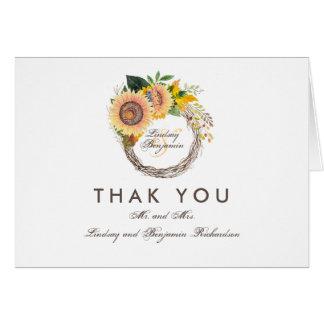 Fall-Sonnenblume-rustikale Hochzeit danken Ihnen Mitteilungskarte