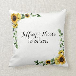 Fall-Sonnenblume-rustikale Scheunen-Land-Hochzeit Kissen