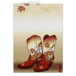 Fall-Stiefel mit Ahornblatt-Motiv Karte