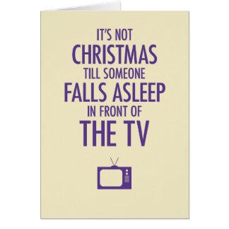 Fallen schlafend vor der Fernsehweihnachtskarte Grußkarte