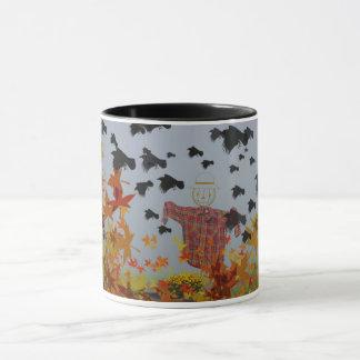 fallende Herbst-Blätter- und -krähen-Tasse! Tasse