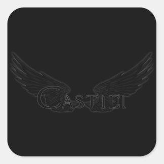 Falln Castiel mit Flügel-Schwarzem Quadratischer Aufkleber