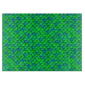 Falln grün-blaue Skalen Schneidebrett