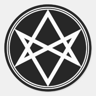 Falln Unicursal Hexagram-Weiß Runder Aufkleber