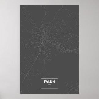 Falun, Schweden (weiß auf Schwarzem) Poster