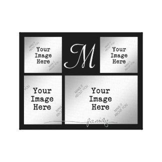 Familie Collage-Silber (wählen Sie Leinwanddruck