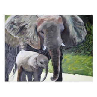 Familie der Elefanten Postkarte