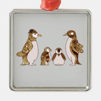 Familie der Pinguine Quadratisches Silberfarbenes Ornament