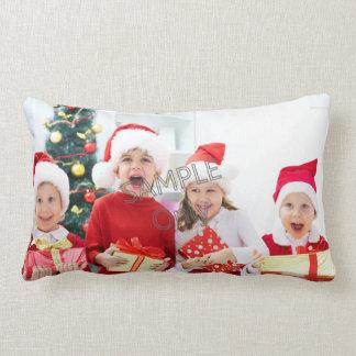 Familie der WeihnachtsweihnachtsFoto-Schablone 2 Lendenkissen