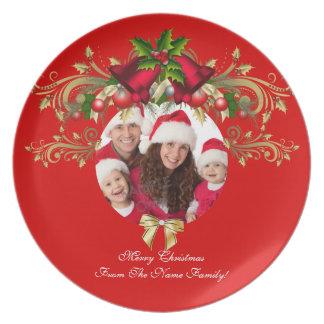 Familie der WeihnachtsweihnachtsFoto-Schablone 3 Melaminteller