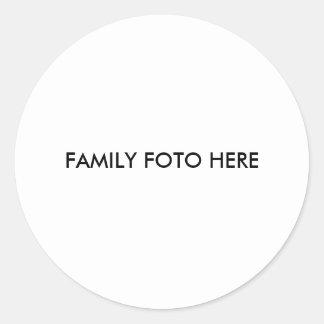 """""""Familie FOTO hier """" Runder Aufkleber"""