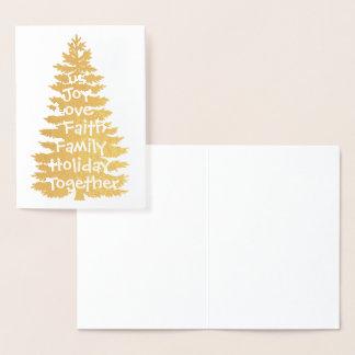 Familien-Feiertags-zusammen Feiertags-Baum Folienkarte