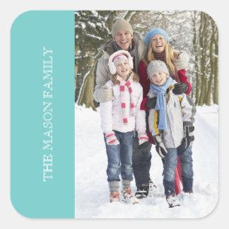 Familien-Foto | hellblau Quadratischer Aufkleber