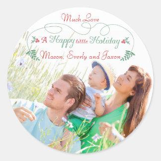 Familien-Foto-rote grüne Stechpalmen-glücklicher Runder Aufkleber