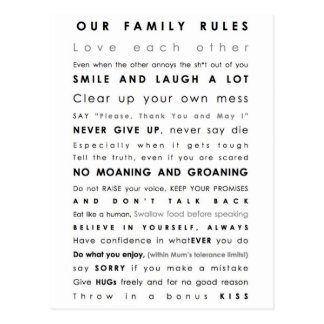 Familien-Grenzen Postkarte