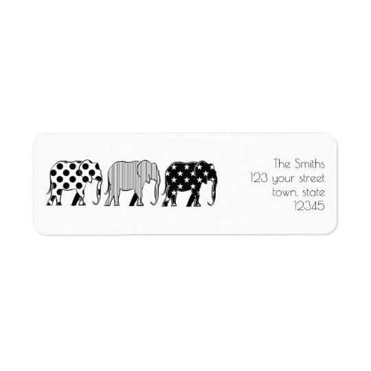 Familien-Gruppen-Cartoon-Elefant-Schwarz-cooles Rücksendeetiketten