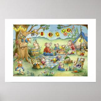Familien-Mäusesommer-Picknick-Plakat Poster