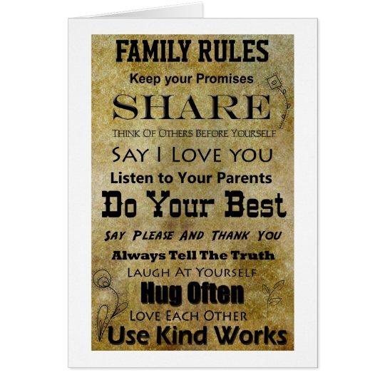 Familien-Regeln Grußkarte