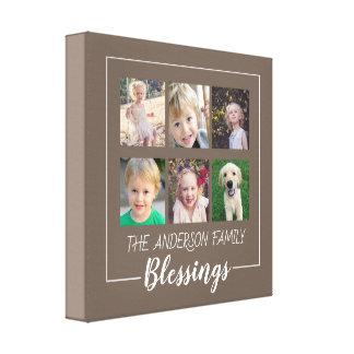Familien-Segen | 6 Foto-Collage auf Brown Leinwanddruck