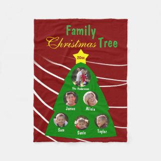 Familien-Weihnachtsbaum-Andenken-Gewohnheits-Foto Fleecedecke