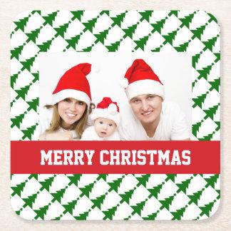 Familien-WeihnachtsFoto Rechteckiger Pappuntersetzer