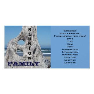 Familien-Wiedersehen-Einladungs-Ozeanstrand Blau-W Photo Karten Vorlage