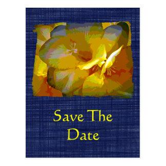 Familien-Wiedersehen-GelbFreesia Save the Date Postkarte