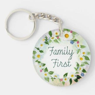 Familien-zuerst inspirierend Zitat Schlüsselanhänger