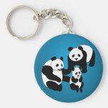 Famille de panda de trois porte-clé rond