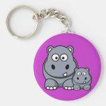 Famille d'hippopotame de bébé, safari sauvage porte-clé rond