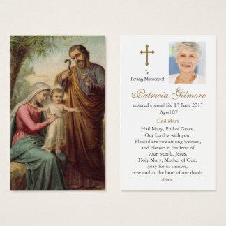 Famille sainte funèbre 1 de la carte   de prière