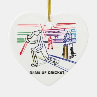 Fan der Spiele des Krickets Keramik Herz-Ornament