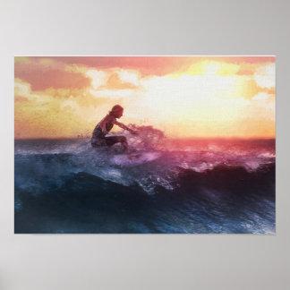 Fangen der letzten Welle des Tages in den Poster