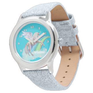 Fantasie-Einhorn addieren Namensmädchenuhr Uhr