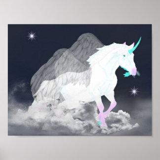 Fantasie-Einhorn-Engel Poster