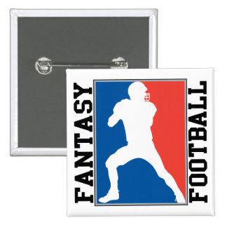 Fantasie-Fußball, rotes weißes und blaues Logo Quadratischer Button 5,1 Cm
