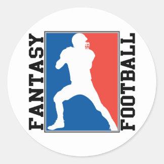 Fantasie-Fußball, rotes weißes und blaues Logo Runder Aufkleber