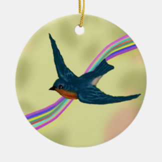 Fantasie-im Flug Drossel und Regenbogen Keramik Ornament