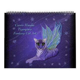 Fantasie-Katzen-Kunst-Kalender. Feenhafte Katzen Kalender