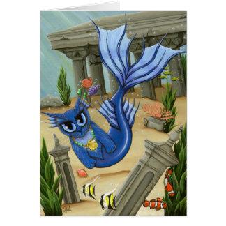 Fantasie-Kunst-Karte Meerjungfrau-Katzen-Atlantis Grußkarte