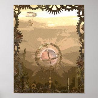 Fantasie-Steampunk inspirierter Plakat-Druck Poster