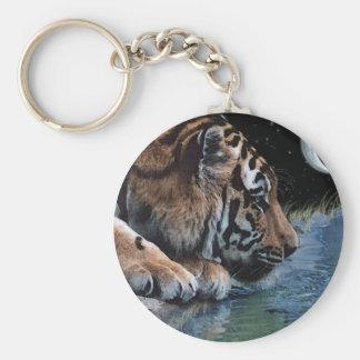 Fantasie-Tiger u. Mond Schlüsselanhänger
