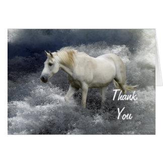 Fantasie-weißes Pferd u. Ozean danken Ihnen Karten