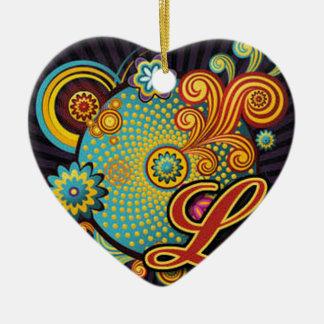 fantastische groovy Wirbelsmonogramminitiale L Keramik Ornament